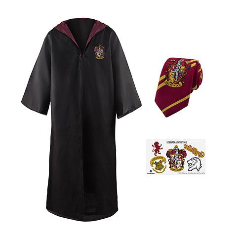Pack déguisement Gryffondor : robe de sorcier + cravate + 5 tatouages