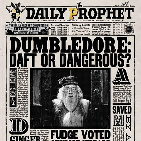 Carte Lenticulaire Dumbledore Daily Prophet