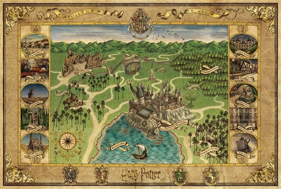 Carte de Poudlard - Univers Harry Potter en Bretagne