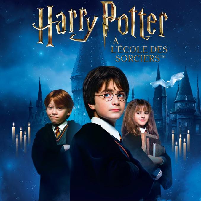 Harry Potter en premier plan, Hermione Granger et Ron Weasleuy en second plan font leur entré à Poudlard, l'école des sorciers (en troisième plan)