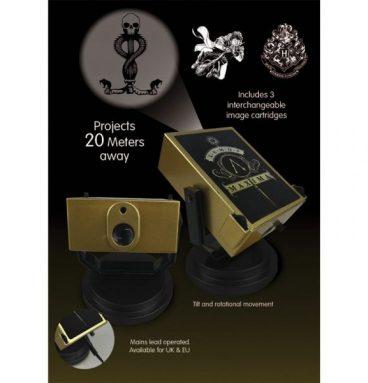 Projecteur lumineux rotatif : symobles Harry sur son balai, la Marque des Ténèbres, blason de Poudlard