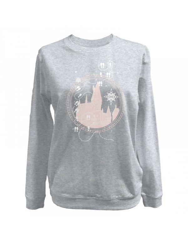 Sweatshirt Mauraudeur - gris avec dessins rose pâle