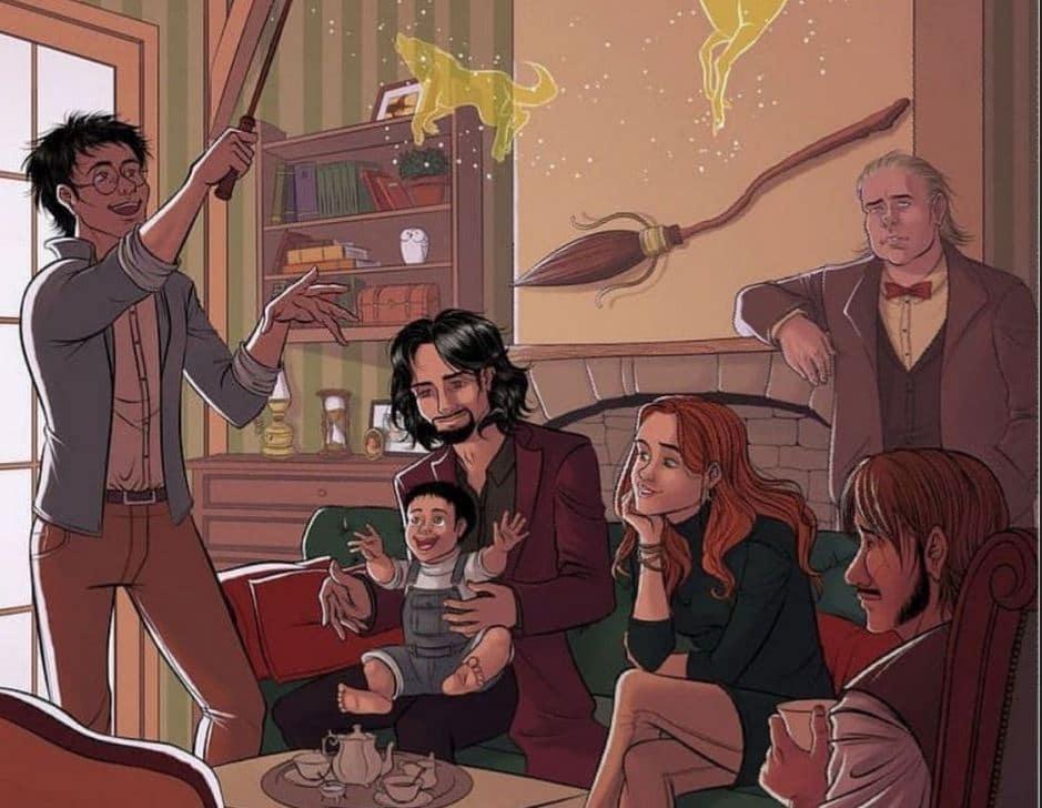 Article blog : produits dérivés et vie de Sirius Black - FanArt de James, Sirius, Lily, Harry, Remus et Peter avant le drame