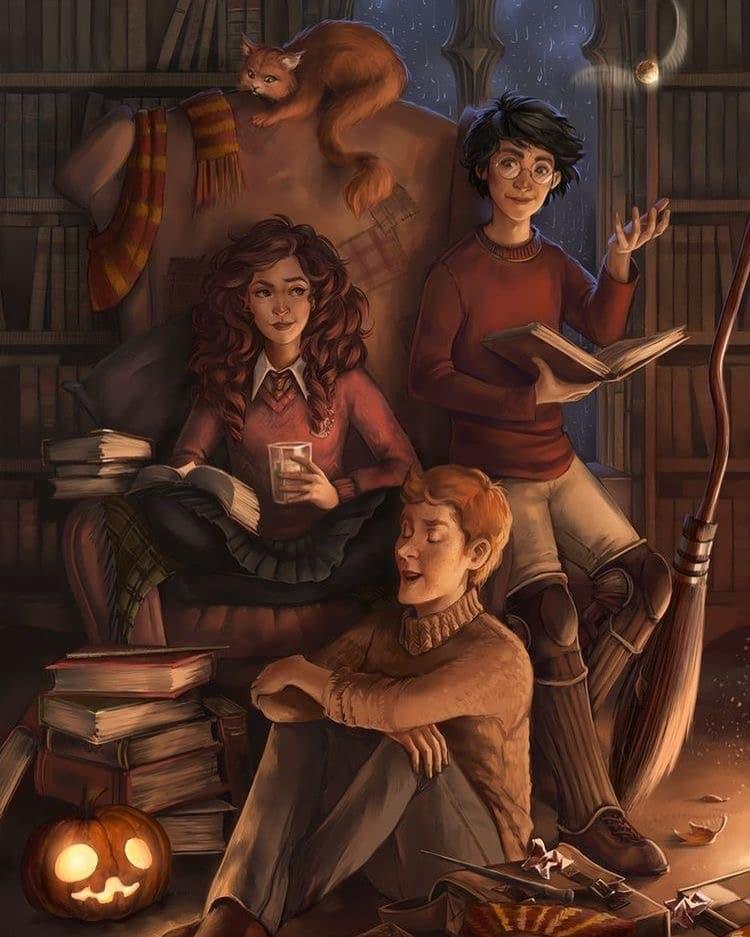 Harry, Hermione et Ron dans la salle commune de Gryffondor à Halloween