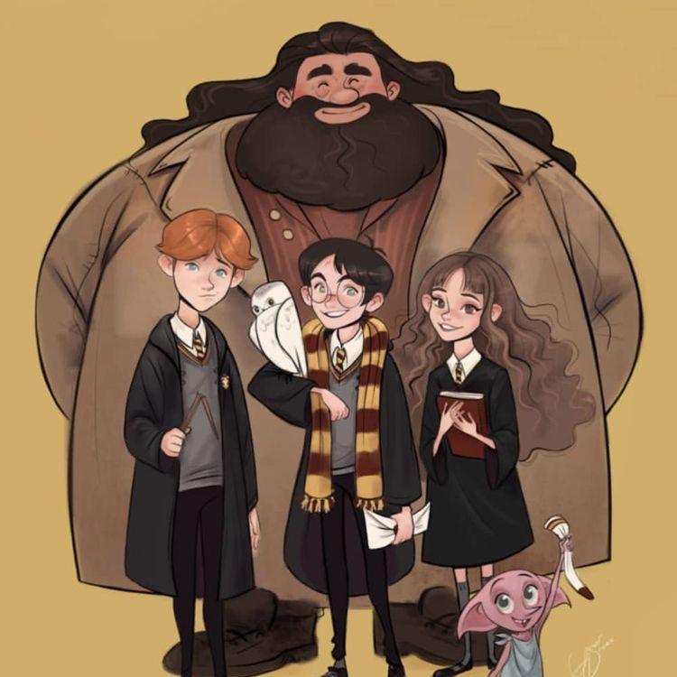 Hagrid, Harry, Ron et Hermione - vie et produits dérivés d'un personnage