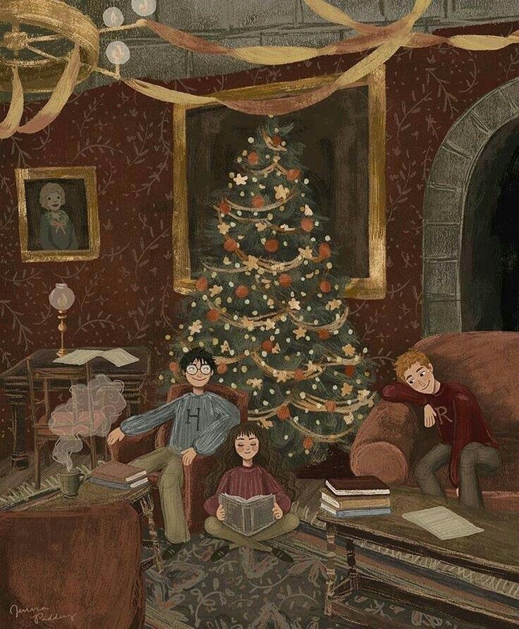 Noël dans la salle commune de Gryffondor avec Harry, Ron et Hermione