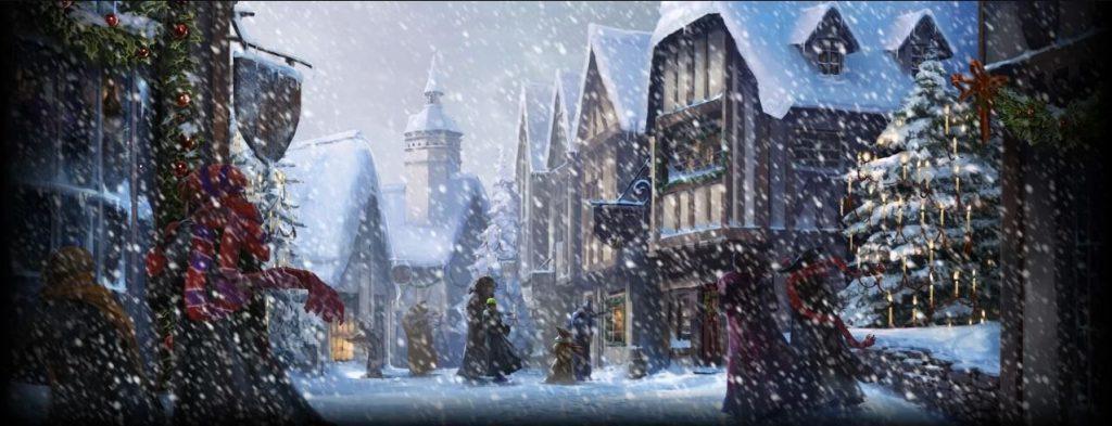 Idées-cadeaux Noël : pré-au-Lard sous la neige. Hagrid, les Professeur McGonagall et Flitwick et le Ministre de la Magie se rendent aux Trois Balais