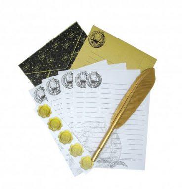 Set de Papier à Lettres Poudlard Harry Potter Noir & Doré