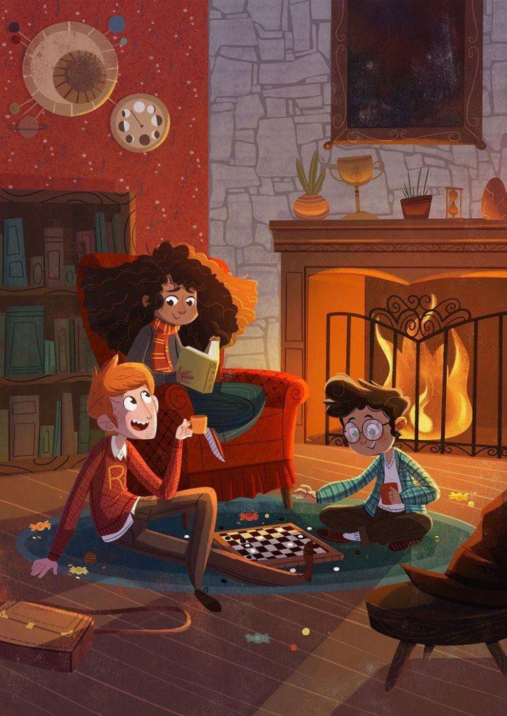 salle commune gryffondor trio jeux de société