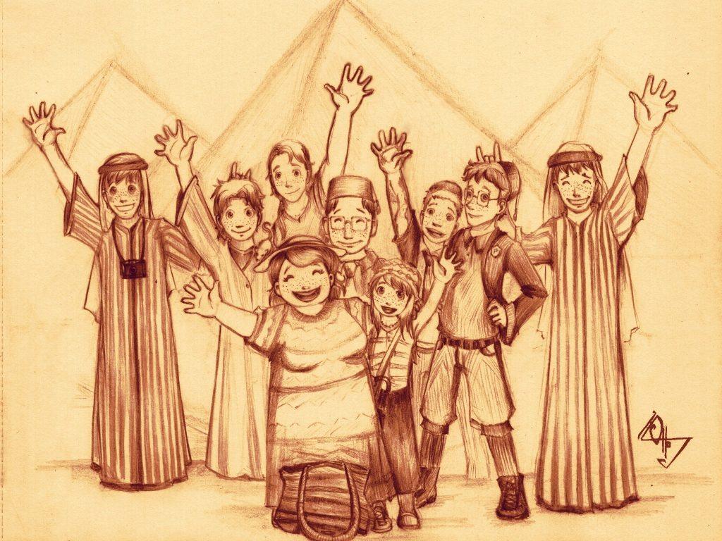Ron Weasley avec sa famille en Egypte