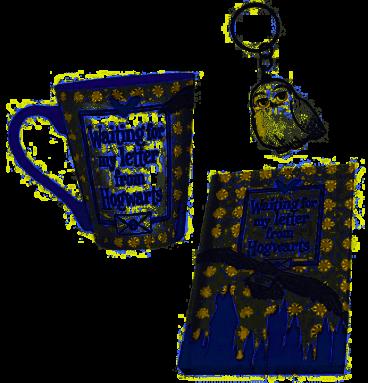 "Pack Mug à thé + Porte-clés + Carnet ""Hedwige"""